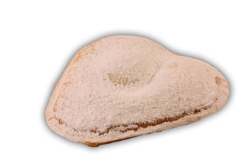 Vaniljhjärta– Innehållsförteckning;Vetemjöl,margarin(veg.fett och olja,vatten,salt,emulgeringsmedel(E471), surhetsreglerande medel(E 270),arom,A-och vitamin),vaniljkräm:,kärnmjölk,socker,veg.fett, modifierad stärkelse,konserverings medel(E 202), salt,aromämnen,färgämnen(E 160a,E 101), socker,ägg (socker),bakpulver (E 450,E 500, E 503).