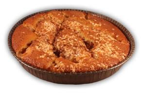 Äppelkaka– Innehållsförteckning; Socker,vetemjöl,mjölk,vatten,margarin (veg.fett,veg.olja,vatten,salt,emulg.- medel(E475,E471),färgämne(betaka.) surhetsreg.medel(citronsyra),arom),ägg mandel,äpplen,fruktsocker,citron, vetestärkelse,bakpulver(E500,E450), grädde,äggula,vetegluten,salt,kanel, vanilj,klumpförebyg.medel(E170),kons.- medel,(E202),aromämnen,sorbitol.