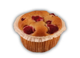 Osötad muffins– Innehållsförteckning; rapsolja,vetemjöl,ägg,fruktsocker, hallon,vatten,potatistärkelse,vete- stärkelse,bakpulver (E500,E450, hjorthornssalt),aromämnen,salt, citronarom,vetegluten,klump- förebyggande medel (E 170). crean fraich,banan