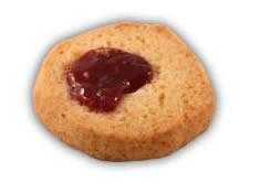 Osötad ungherre– Innehållsförteckning; Vetemjöl,margarin (veg.fett och olja, vatten,salt,emulg.medel (E475,E471),surhetsreg.medel, (citronsyra),arom),osötad hallonsylt: konsitensgivare (E965),hallon,äppelpulp vatten,förtjockningsmedel(E440, E401),kons.medel (E202),citronsyram aromämne,ägg,fruktsocker,aromämne, vetegluten,bakpulver (hjorthornssalt).