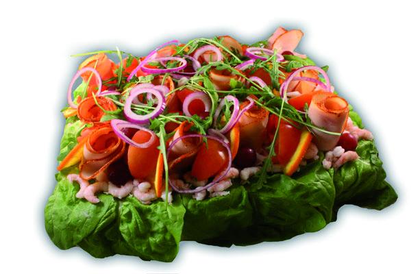 Provance/räk/kyckling– Innehållsförteckning; VETEMJÖL, RÄKOR i lake (vatten, salt, konserveringsmedel E211, E202, syra E330), vatten, MJÖLK, creme fraiche, kyckling, tomat, apelsin, GRÄDDE, vegetabilisk olja, sallad, vindruva, paprika, vitkål, purjolök, rödlök, ÄGGULA, ruccolasallad, socker, VETEGLUTEN, vegetabilisk olja (palm,raps,HAVRE), modifierad stärkelse, salt, lök, jäst, RÅGSKÅLLNING, druvsocker, stabiliseringsmedel, kryddor, naturlig arom, MJÖLKPROTEINER, ättika, stabiliseringmedel E 412, stabiliseringsmedel E451, stabiliseringsmedel E415, citronkoncentrat, konserveringsmedel E202, konserveringsmedel E211, färgämne E160a, surhetsreglerande medel E270, jästextrakt, konserveringsmedel E250, mononatriumglutamat, MJÖLKSOCKER, vitlök, kiseldioxid, SELLERI, ingefära, spiskummin, svartpeppar, klumpförebyggande medel E551, SELLERIFRÖ, arom, stabiliseringsmedel (E407), vitamin A och D.