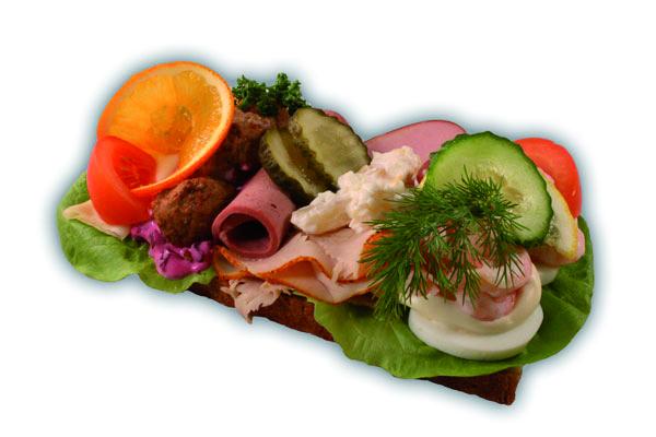 Landgång– Innehållsförteckning; Vetemjöl,vatten,ägg,margarin(veg.olja,veg.fett,vatten, emulg.medel (E471),salt,aromämnen,citronsyra,vitamin A&D, socker,vetegluten,jäst,salt,rågskållning,druvsocker, veg.fett,smör:veg.fett,vatten,salt,emulg.medel, (E322 solros lecitin) vitaminer,aromämnen, antioxidationsmedel(E330) ,färgämne(E160a (80%fett),räkor,ägg,skinka,ost,tomat,gurka,vindruva, apelsin,citon,persilja,dill,Rödbetssallad:(Rödbetor,veg.olja ,vatten,äggula,senap,E202,E412,E415,E1442,köttbullar, leverpastej,ättika,päron,persika,druvor,ananas,körsbär, E300,E250,E270,E412,E415,E211,E202
